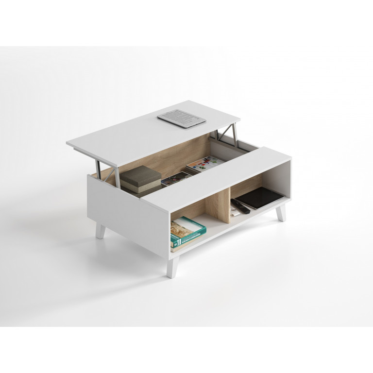 Mesa de centro elevable STYLUS PLUS 0F6633BO blanco brillo y roble canadian.