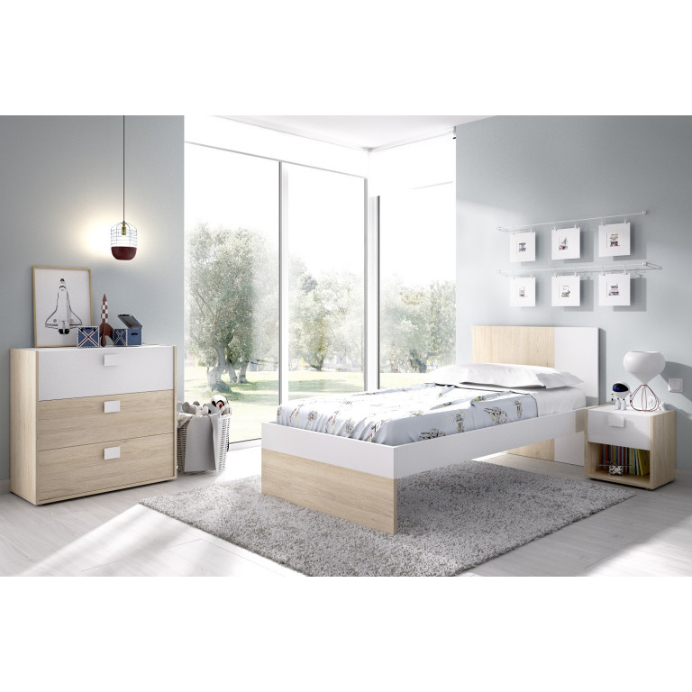 Cama 90 x 190 en color natural con blanco. Modelo DINA 03K4268643