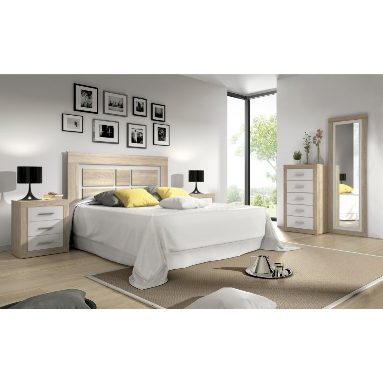Dormitorio matrimonio LARA Nº 02 en color cambrian combinado con color blanco