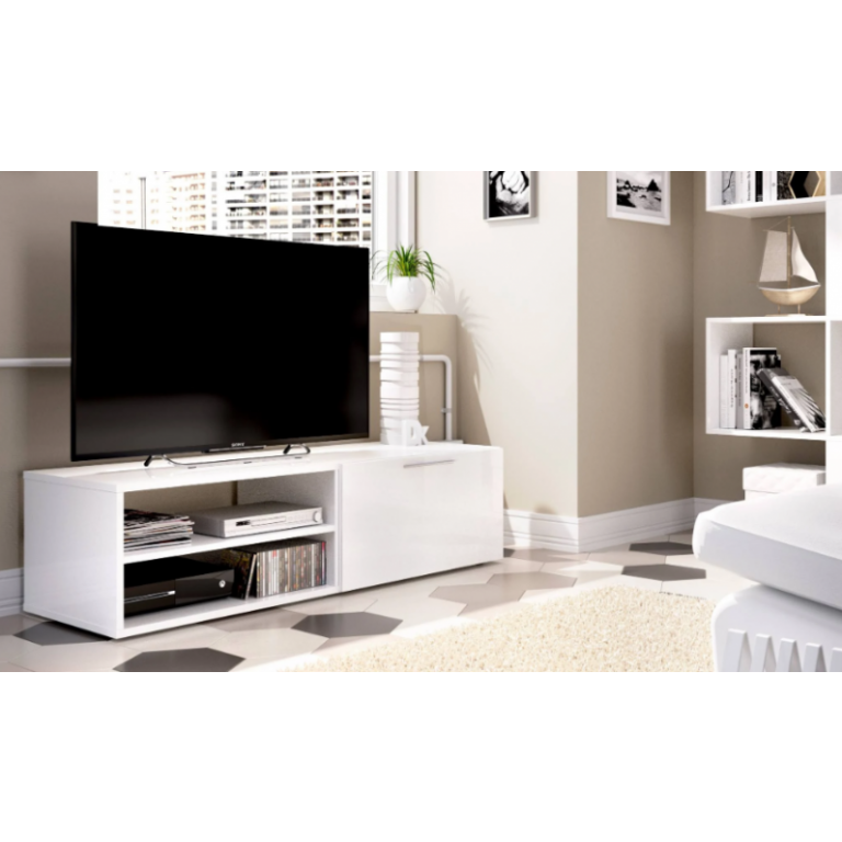Bajo TV 33x131cm modelo SOHO 03K54232 en color blanco brillo