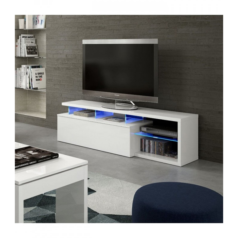 Mueble Tv Modelo BLUE-TECH 026630BO acabado en blanco